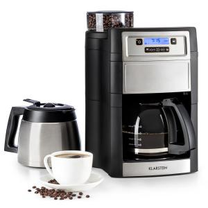 Aromatica II Duo Kaffeemaschine | integriertes Mahlwerk | 2-10 Tassen | 5 Mahlgrade | 1,25 l Glaskanne | einstellbare Kaffeestärke | Permanent-Filter mit Goldbeschichtung | LCD-Display | Timer | Aktivkohle-Filter | inklusive Thermoskanne | schwarz