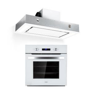Klarstein Gusteau Remy ensemble four + hotte encastrables 2950 W inox blanc